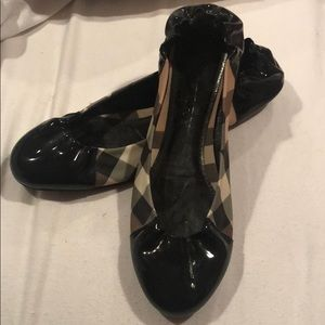Burberry Patent Leather Check Ballerina Flats 39.5